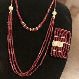 Jewelry Handmade Crystal Bead Necklace & Bracelet.